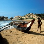 Traditional boat in Sri Lanka coast
